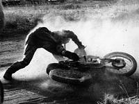 Oops! At the motorbike racing dirt-track near Harare (then Salisbury), 1950s - By Brian Barratt